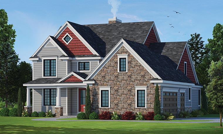 Country Craftsman Traditional House Plan 66750 Elevation