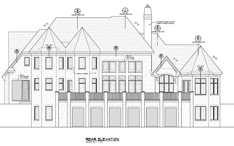 French Country Southern Traditional House Plan 66755 Rear Elevation