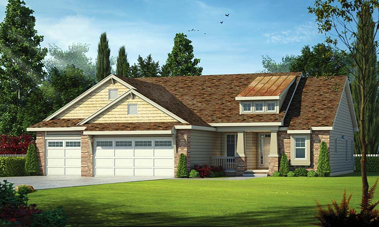 Country Craftsman Ranch Southern Traditional Elevation of Plan 66759