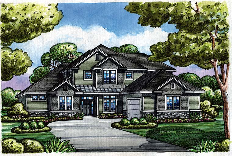 Craftsman, Traditional House Plan 66772 with 4 Beds, 4 Baths Elevation