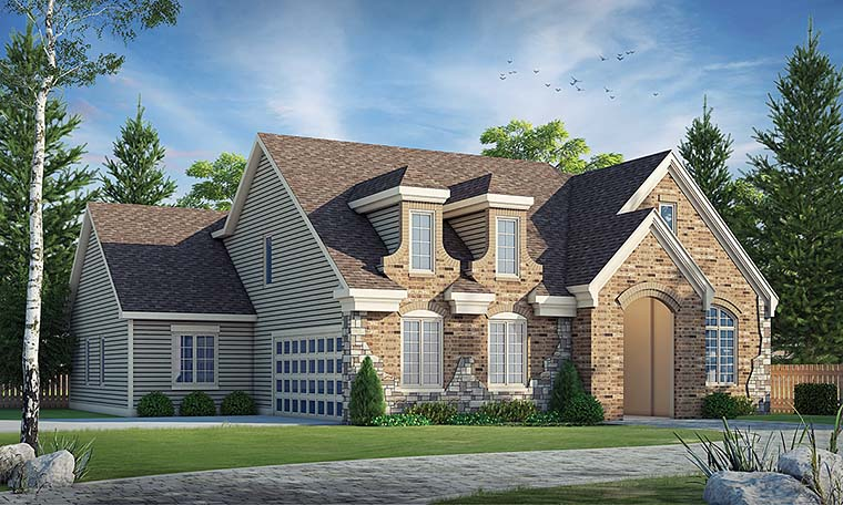 European, French Country, Southern House Plan 66784 with 3 Beds, 2 Baths, 2 Car Garage Elevation