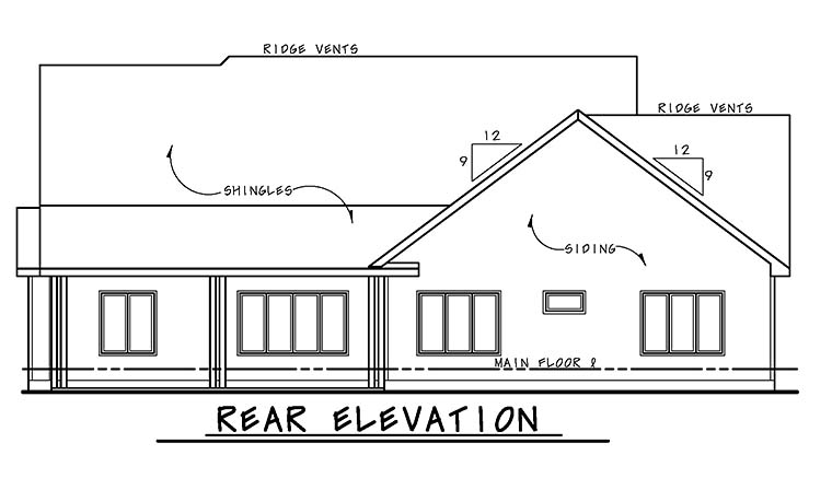European, French Country, Southern House Plan 66784 with 3 Beds, 2 Baths, 2 Car Garage Rear Elevation