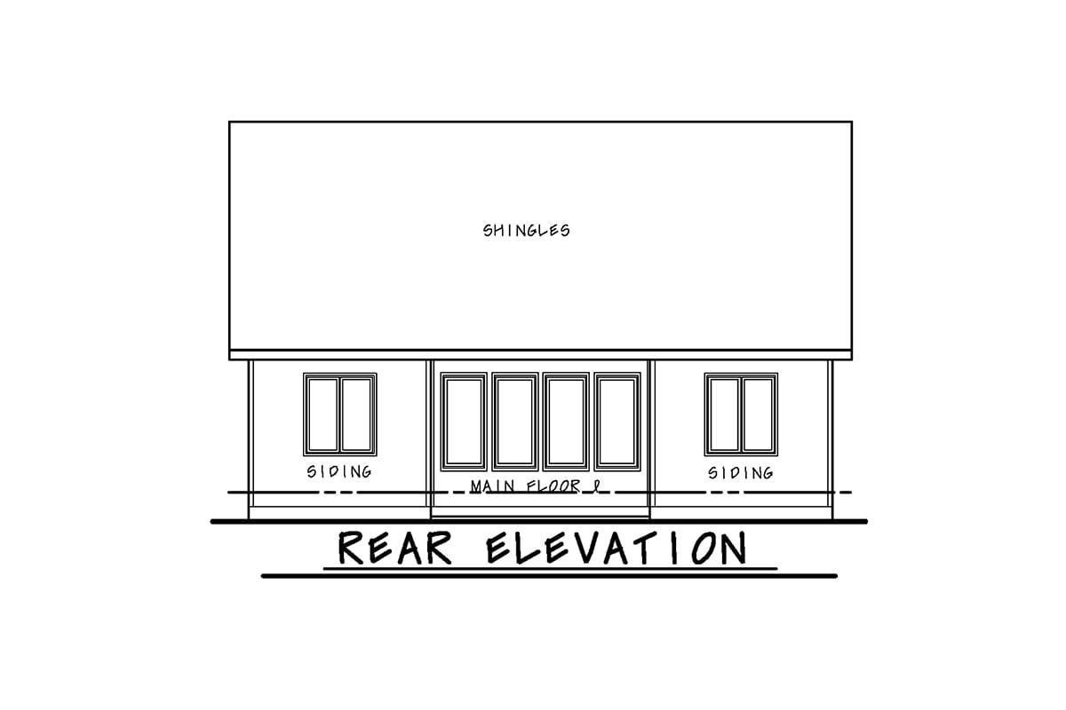 House Plan 66787 Rear Elevation