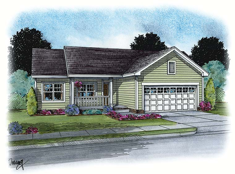 Country Ranch Traditional House Plan 66789 Elevation