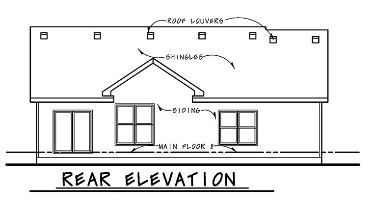 Country Ranch Traditional House Plan 66789 Rear Elevation