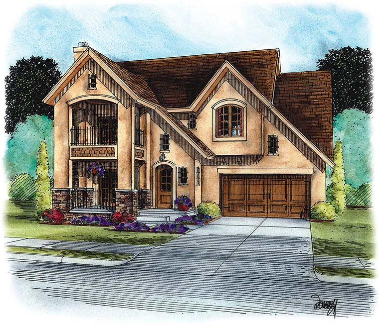 European, French Country House Plan 66791 with 3 Beds, 3 Baths, 2 Car Garage Elevation