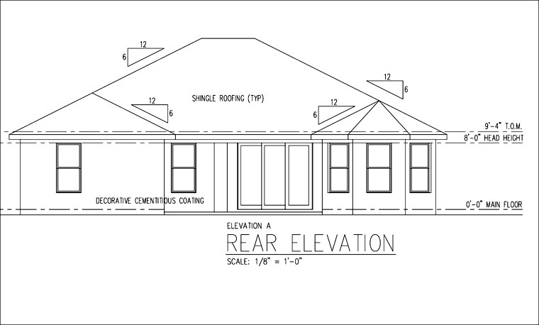 Florida Ranch Traditional House Plan 66840 Rear Elevation