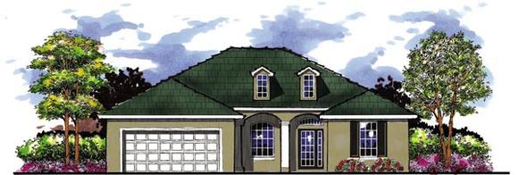 Country, Florida, Ranch House Plan 66848 with 4 Beds, 3 Baths, 2 Car Garage Elevation