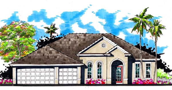 Contemporary, Florida, Ranch, Traditional House Plan 66863 with 4 Beds, 3 Baths, 3 Car Garage Elevation