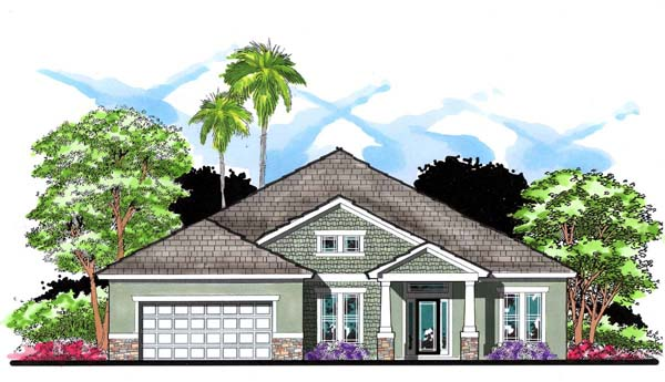 Craftsman, Florida, Ranch, Traditional House Plan 66866 with 4 Beds, 3 Baths, 2 Car Garage Elevation