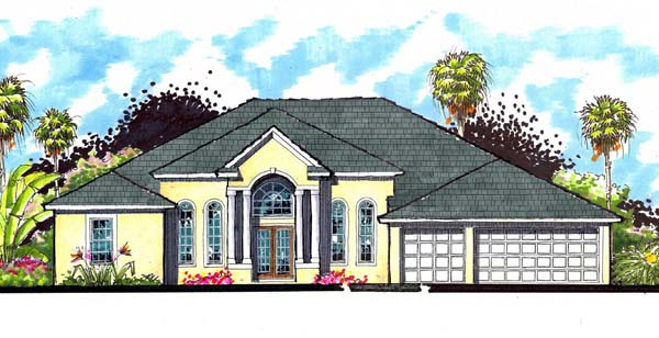 Florida, Ranch, Traditional House Plan 66872 with 4 Beds, 3 Baths, 3 Car Garage Elevation