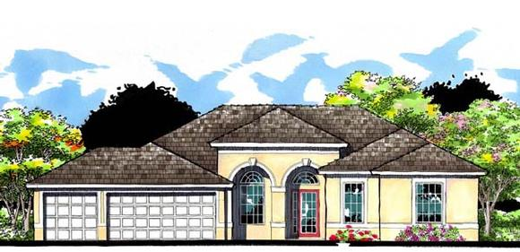 Contemporary, Florida, Ranch, Traditional House Plan 66883 with 4 Beds, 3 Baths, 3 Car Garage Elevation