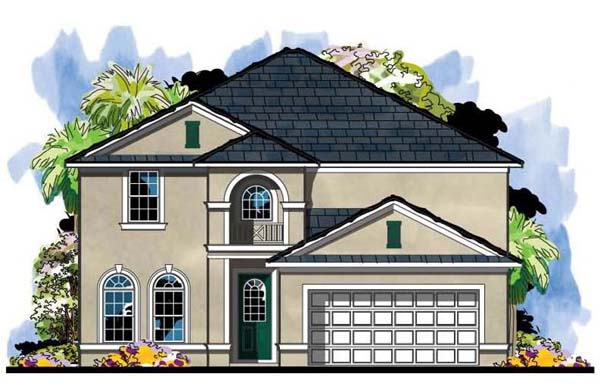 Colonial, Florida, Traditional House Plan 66885 with 5 Beds, 3 Baths, 2 Car Garage Elevation