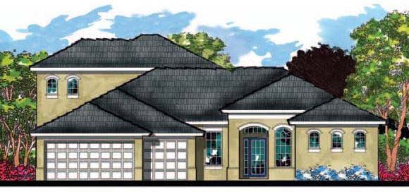 Contemporary, Florida, Ranch House Plan 66891 with 4 Beds, 3 Baths, 3 Car Garage Elevation