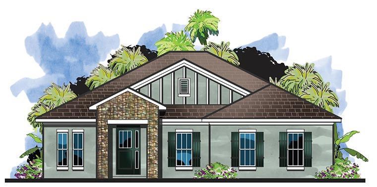 Cottage, Florida, Traditional House Plan 66924 with 4 Beds, 3 Baths, 2 Car Garage Elevation