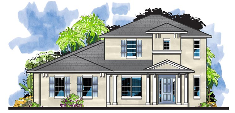 Colonial, Florida, Southern House Plan 66933 with 4 Beds, 4 Baths, 3 Car Garage Elevation