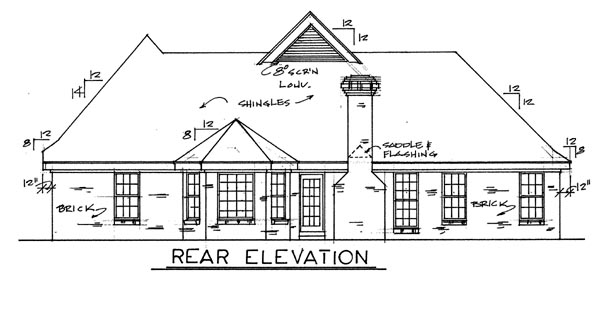 European Traditional House Plan 67042 Rear Elevation