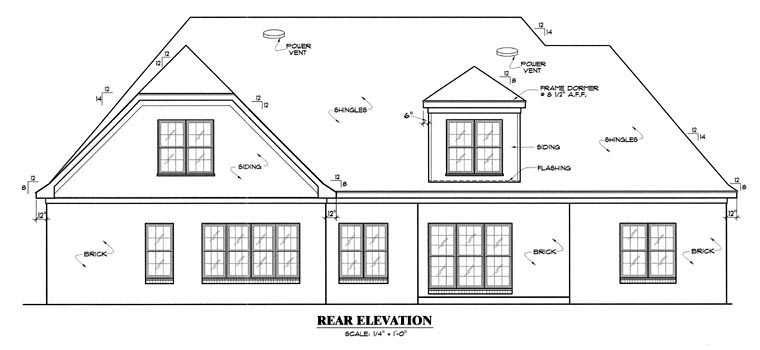 Traditional House Plan 67081 Rear Elevation