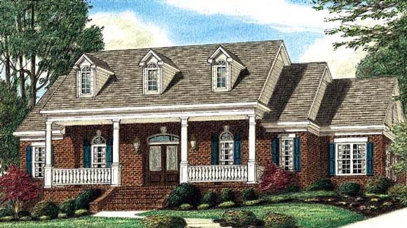 Southern House Plan 67118 with 3 Beds, 3 Baths, 2 Car Garage Elevation