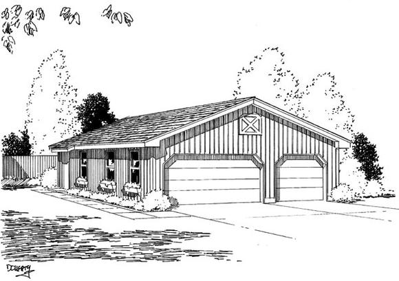 Narrow Lot, One-Story 6 Car Garage Plan 67201 Elevation
