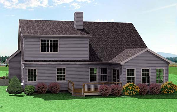 Traditional House Plan 67211 with 3 Beds, 3 Baths, 2 Car Garage Rear Elevation