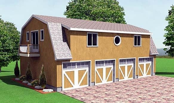Farmhouse 4 Car Garage Plan 67280 Elevation