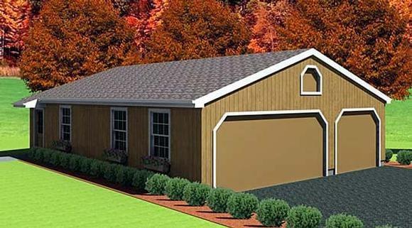 6 Car Garage Plan 67292 Elevation
