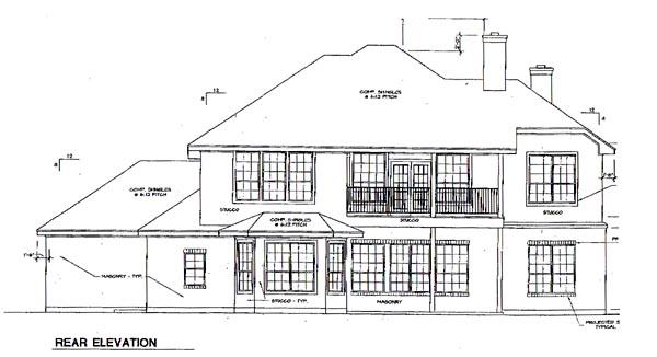 European House Plan 67448 Rear Elevation