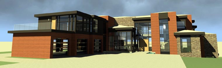 Elevation of Contemporary   Modern   House Plan 67596