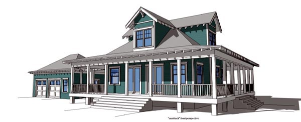 Coastal House Plan 67597 with 2 Beds, 2 Baths, 2 Car Garage Elevation