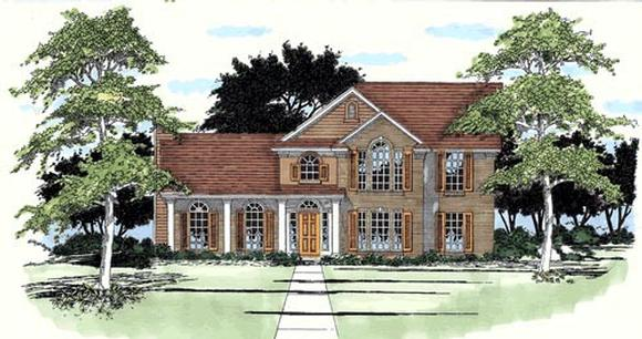 European House Plan 67745 with 4 Beds, 3 Baths Elevation