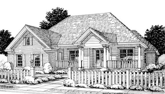 Colonial, Traditional House Plan 67881 with 4 Beds, 3 Baths, 2 Car Garage Elevation