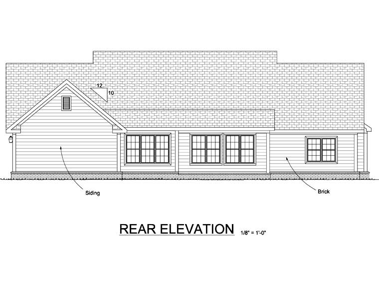 Country, Southern House Plan 67882 with 3 Beds, 3 Baths, 2 Car Garage Rear Elevation