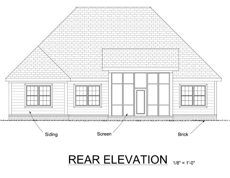 Cottage Country Rear Elevation of Plan 67885