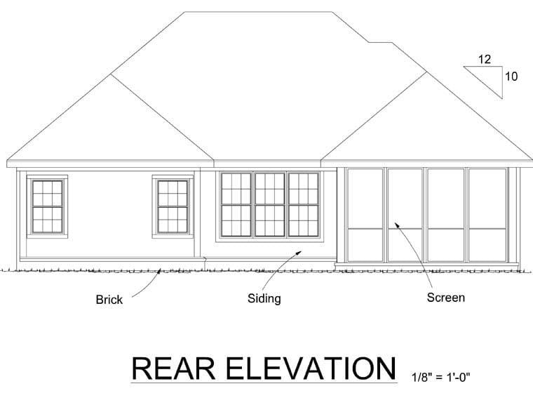 European House Plan 67886 with 2 Beds, 2 Baths, 2 Car Garage Rear Elevation