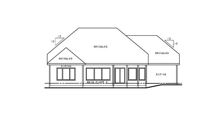 European House Plan 67893 Rear Elevation