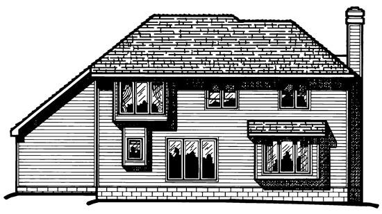 European House Plan 68006 Rear Elevation