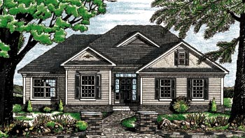 One-Story, Traditional House Plan 68064 with 3 Beds, 2 Baths, 2 Car Garage Elevation