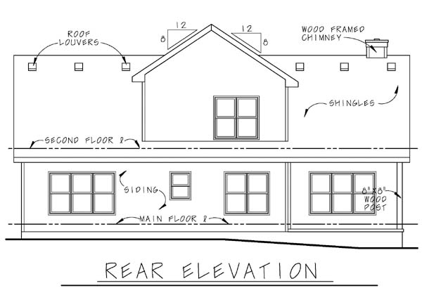 Bungalow Country Southern House Plan 68115 Rear Elevation