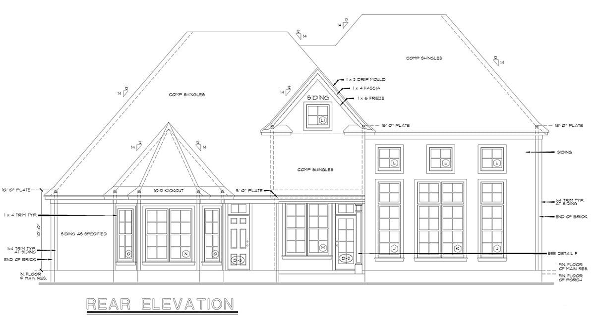 European Victorian House Plan 68134 Rear Elevation