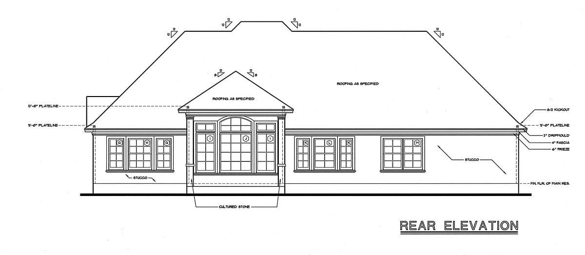 European Victorian House Plan 68136 Rear Elevation