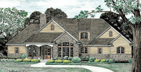 European Traditional House Plan 68137 Elevation