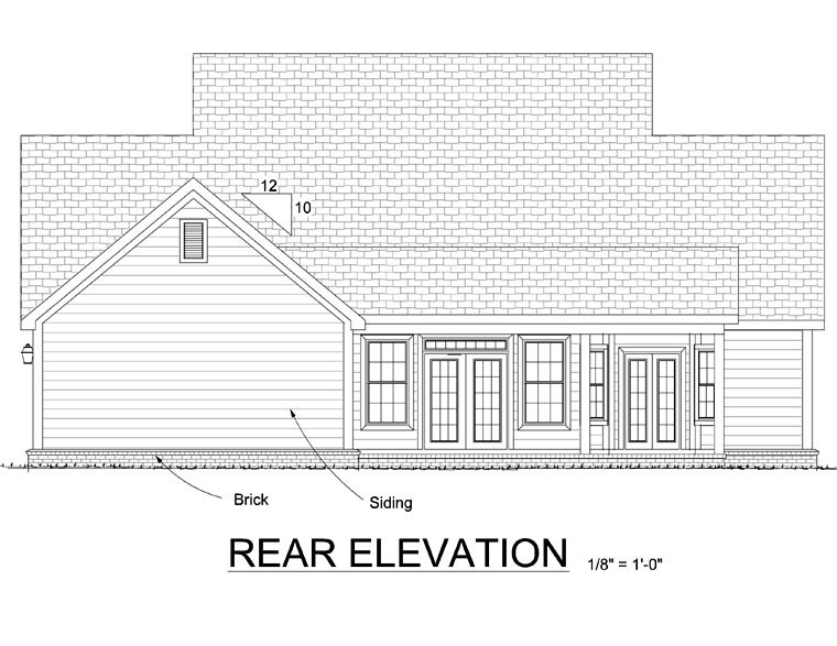 Country Farmhouse Southern House Plan 68153 Rear Elevation