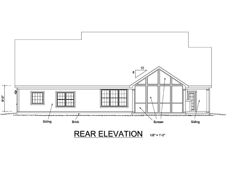 Traditional House Plan 68161 Rear Elevation