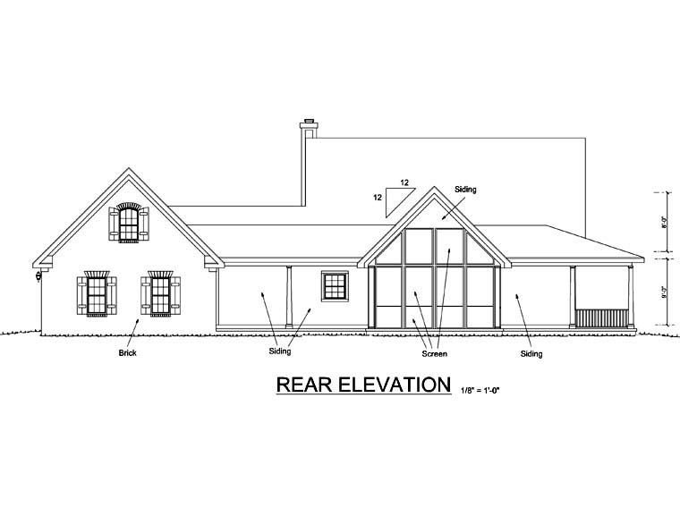 Country Southern House Plan 68172 Rear Elevation
