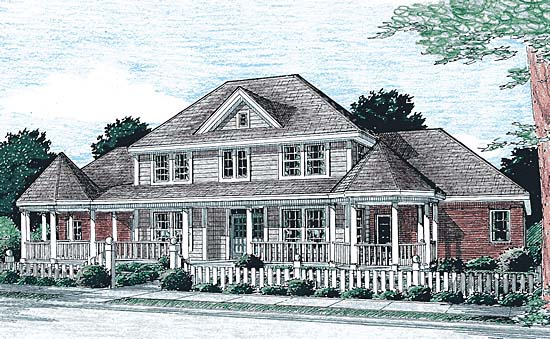 Colonial, Country, Farmhouse, Southern House Plan 68173 with 3 Beds, 3 Baths, 2 Car Garage Elevation