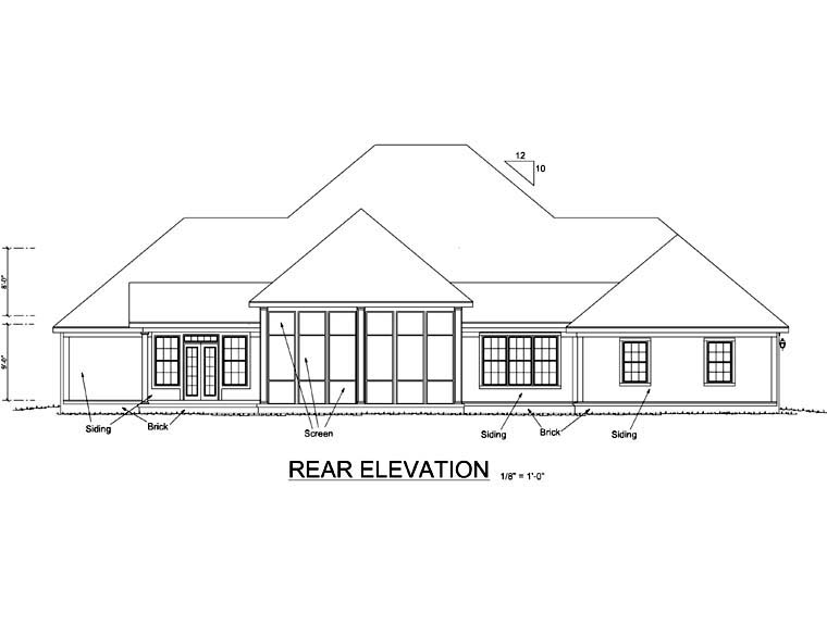 Colonial, Country, Farmhouse, Southern House Plan 68173 with 3 Beds, 3 Baths, 2 Car Garage Rear Elevation