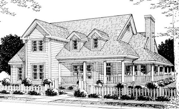 Country, Farmhouse, Southern House Plan 68176 with 4 Beds, 4 Baths, 2 Car Garage Elevation