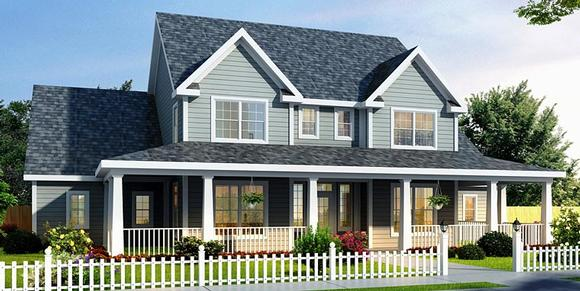 Country, Farmhouse House Plan 68178 with 3 Beds, 3 Baths, 2 Car Garage Elevation