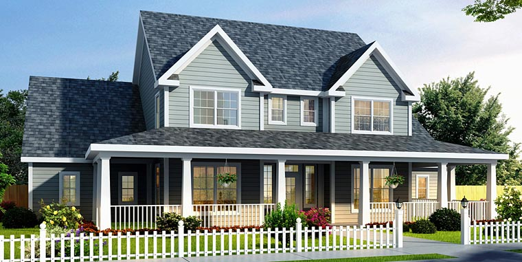 Country Farmhouse Elevation of Plan 68178
